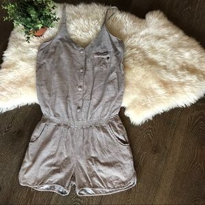 2/$30 Element tan button up romper with pocket